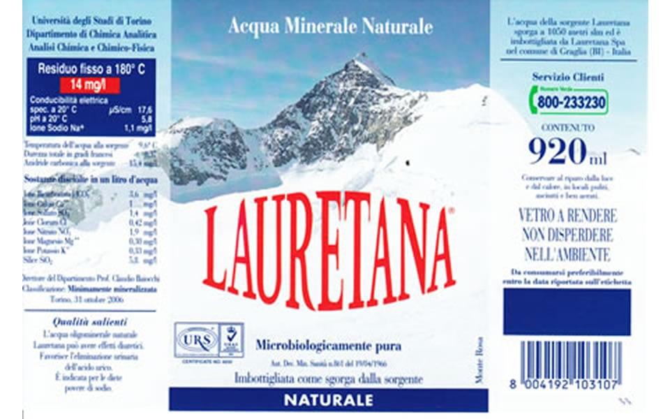 etichetta acqua lauretana